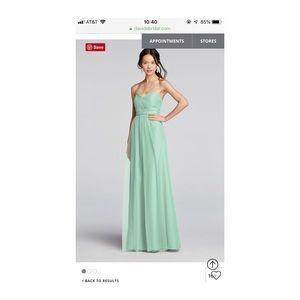 David's Bridal mint long bridesmaid dress size 10